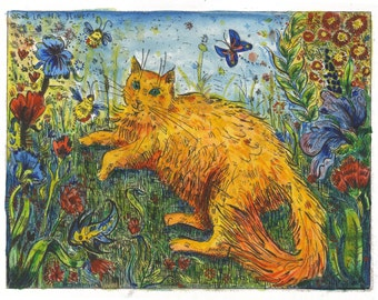 Yellow cat amongst the flowers