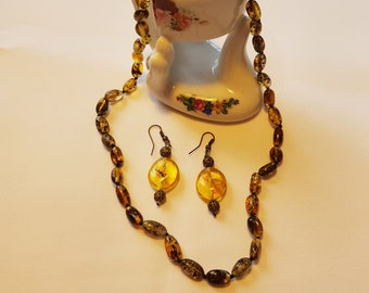 Natural Baltic Amber Necklace and Earrings Set