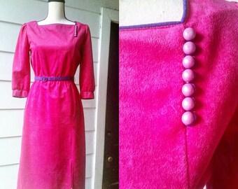 Vintage Fuscia and Purple Velveteen Dress with Belt