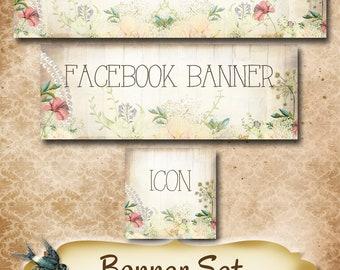 Custom SHOP BANNER Set•Facebook Cover•Girly Design