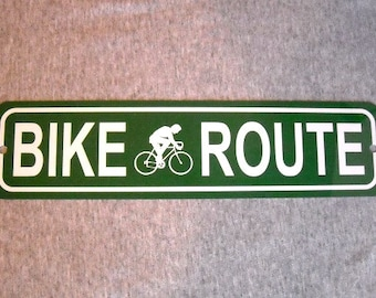 Metal Sign BIKE ROUTE bicycle bicyclist cycling street road biking path cyclist mountain garage man cave wall plaque