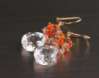 Large Rock Crystal 14k Gold Filled Earrings Carnelian Rose Quartz Andalusite AAA Gemstone Cluster Semiprecious Fall Wire Wrapped