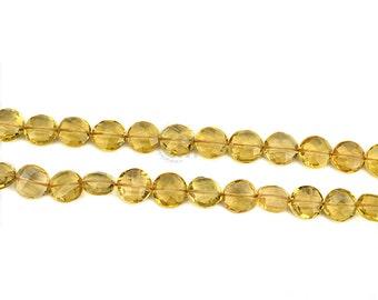Lemon Topaz Round Beads 8-9mm Faceted Drops Beads 9 Inch Full Strand GemMartUSA (DRLT-70015)