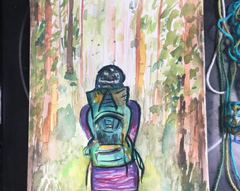 The Hiker with the Cool Backpack,  Twenty Dollar ORIGINAL Painting, 8x10, Art, Trees, Green, Brown, Purple