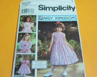 UNCUT Simplicity 8632 DAISY KINGDOM Girl's Dress and Jacket and Doll Clothes for 18'' Doll SizeNN (8,10,12,14)  1999