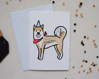 Party Shiba Inu Lino print Linocut Dog puppy Happy Birthday Celebrations hat and bandana scarf hand printed greeting card. Free UK Shipping