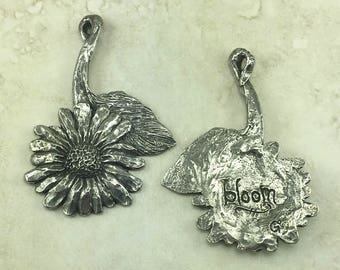Daisy Dangle Green Girl Extra Large Pendant - Sunflower Bloom Sun Flower Floral Garden - American Artist Made Lead Free Pewter Silver 266