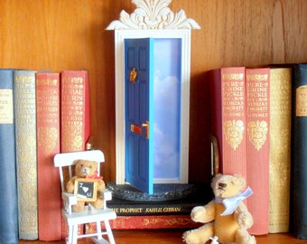 Blue Fairy Door or Tooth Fairy Door, opens outward , with architectural detail, two tiny envelopes and stationery