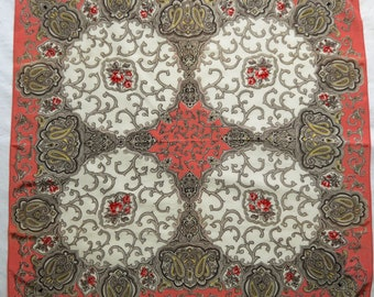 1950s Rayon Scarf with Victorian Design