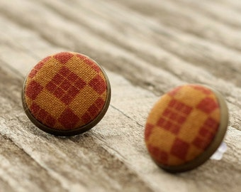Stud Earrings - Brown Plaid Earring Studs - Checks Country House Fabric Buttons Jewelry