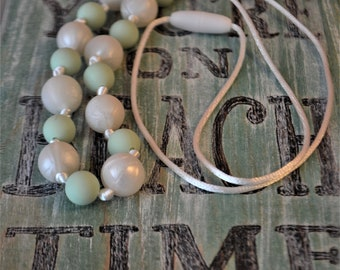 Mint and Pearl Teething Necklace