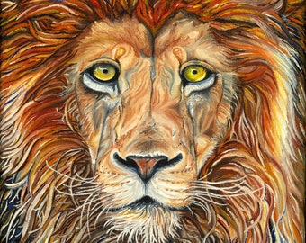 """Oil Lion Painting / 8"""" x 10"""" Print / 'King of the Beasts'"""