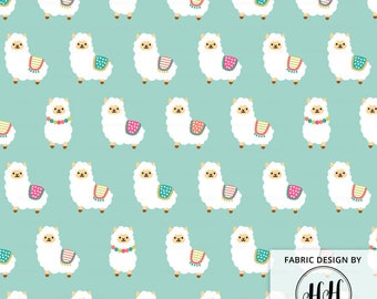 Alpaca Party Fabric By The Yard - Cute Mint Alpacas Baby Nursery Kids Llama Whimsical Crafting Print in Yards & Fat Quarter