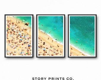 Aerial Beach Photography, Beach Wall Art Print, Triptych Wall Art, Set of 3 Prints, Beach Print, Coastal Wall Art, Beach Art, Large Wall Art