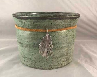 Green Stoneware Crock with Silver Feather