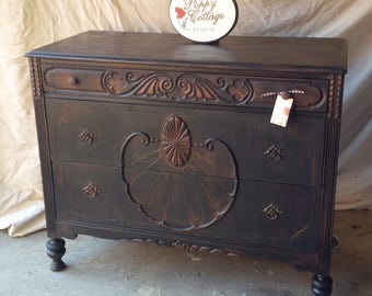 Dresser Vintage Chest of Drawers Old West CUSTOM Boot Black Finish Poppy Cottage Painted Vintage Furniture Cottage Style Farmhouse