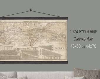 TV Cover.  Vintage World Map.  1924 Steamship Sailing Map.  40x60 Hanging or as a Pull Down Map.