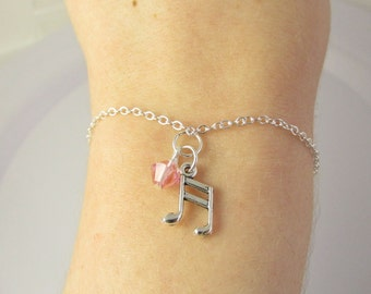 Music Note Bracelet- choose a birthstone, Music Note Jewelry, Music Gift, Music Bracelet, Music Jewelry, Music Teacher Gift, Music Charm