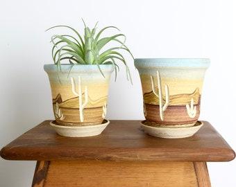 Vintage Southwest pottery planters...handmade Southwestern planters...hand painted flower pots...carved cactus motif...boho jungalow.