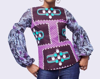 African Print and Chiffon Top, Ankara Top, African Clothing for Women,  African Top, African Clothing, African Blouse, African Women Top