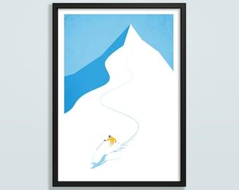 Ski art print, ski gift, made to order, off piste skiing poster, vintage ski art, gift for skier, mountain art, ski resort poster