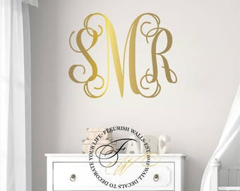 Initial Monogram Wall Decor - Bedroom Wall Decal - Baby Girl Nursery Wall Decal - Vinyl Monogram Wall Decal - Gold Wall Decal MB001