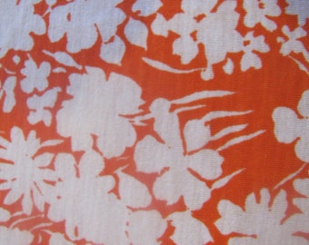 1970's Orange Floral Jersey Fabric, Jersey Fabric, Jersey, Floral, Flower, Orange, 1970's