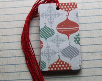27 Christmas ornament and snowflake gift tags paper over chipboard