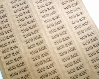 Kraft HAND MADE Product Labels - 3 sheets