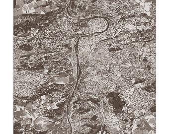 Prague Cityscape Art / Czech Republic Art Print / Aerial Map Art / 8x10 Print