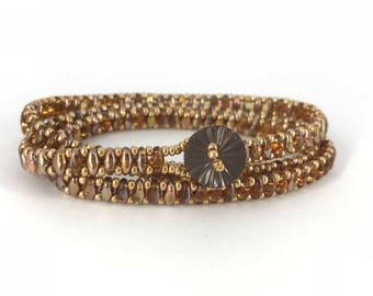 beaded wrap bracelet for women / superduo wrap bracelet / triple wrap bracelet / wrap bracelet / superduo bracelet / womens bracelet