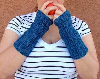 Ocean Blue Fingerless Gloves, Hoooked Crochet Wrist Warmers, Fingerless Gloves, Arm Warmers, Fingerless Mittens MADE TO ORDER