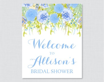 Blue Floral Bridal Shower Welcome Sign Printable - Garden Party Bridal Shower Customizable Sign - Blue and Green Bridal Shower Decor 0013