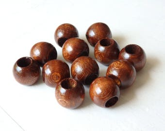 XL wood beads - TWELVE extra large dark wood beads with wide hole, glossy wood, 20x18mm dark brown wooden beads, large wood beads - 12 pcs.