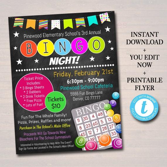 editable bingo night flyer printable pta pto flyer school
