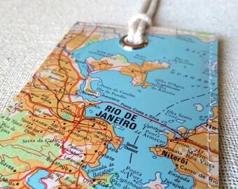 Rio de Janeiro luggage tag made with original vintage map