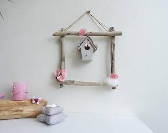 Decorative shabby chic wall decor-House child Deco pink-nursery girl - niche bird Decoration