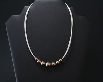 Sterling Silver Rose Gold Overlay Beaded Necklace, Rose Gold Jewelry, Beaded Sterling Silver Necklace, Graduated Sterling Silver Beads