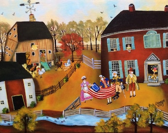 Primitive Colonial Folk Art Painting George Washington and the American Flag by self-taught artist Sharon Eyres