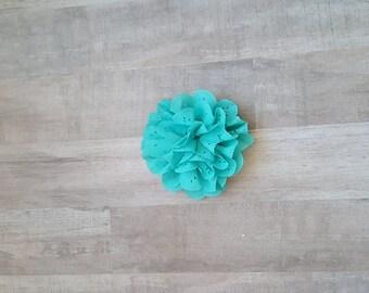 "4"" Teal Eyelet Flower, large flower puff, Teal fabric flower, Eyelet flower, DIY supplies, Headband flower, Flower Hair Clip, Teal flower"