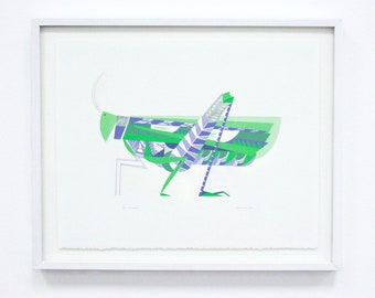 Grasshopper, Silkscreen - Geometric Large Original Screenprint, Hand printed, Limited Edition of 20 only