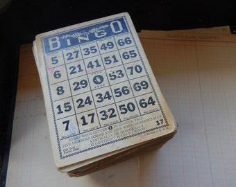 One Antique Vintage BINGO Card Heavy Duty Fiber Cardboard Oak Leaf