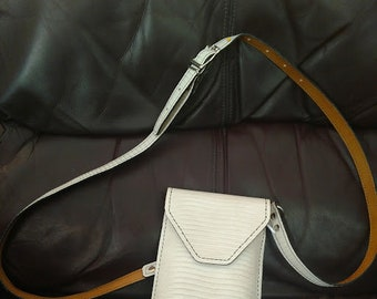 Handmade, all leather White lizzard concert bag