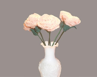 Hand Crochet Single Rose, Anniversary Gift, Artificial Flower.