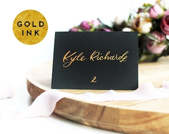 Hand Lettered Gold Ink Custom Black Wedding Place Cards | Wedding Handwritten Table Place Cards Calligraphy | Personalized Folded Cards