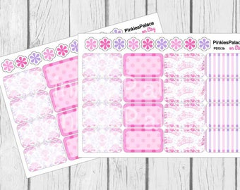Pink Princess Half Boxes Planner Stickers