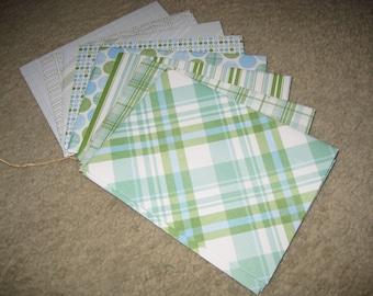 Patterned Envelopes. Handmade Envelopes. Envelope Bundle. Green Envelopes. Blue Envelopes. Set of 20.