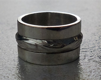 Chunky silver ring, Solid silver ring, Wide band silver ring, Unisex ring, Sterling silver 925