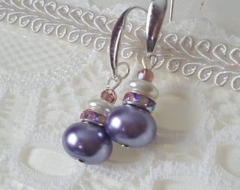 Earrings purple Pearl glass, long earrings, dangle earrings