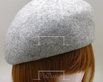 VINTAGE x ELEGANT Soft Wool Felt Cadet Beret Pillbox Hat - Mix Grey